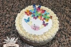 Tradycyjny tort kremowy - orzechowy - w białej masie cukrowej